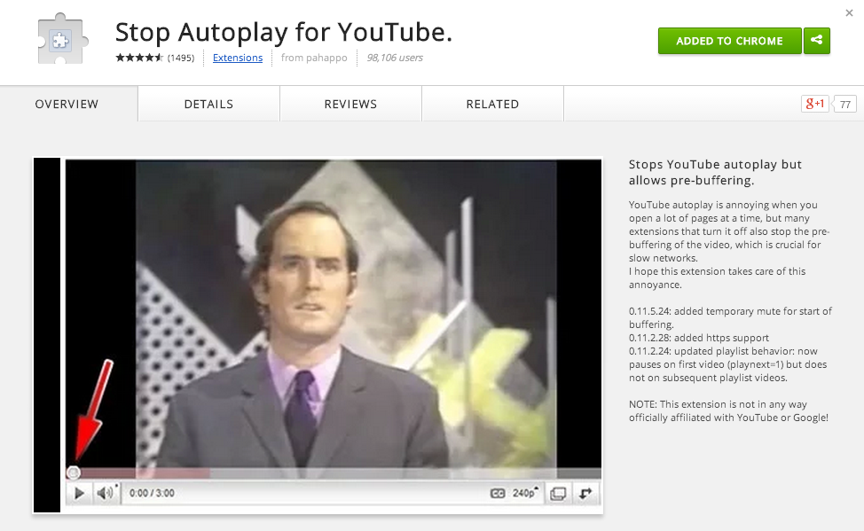 Stop Autoplay for YouTube.